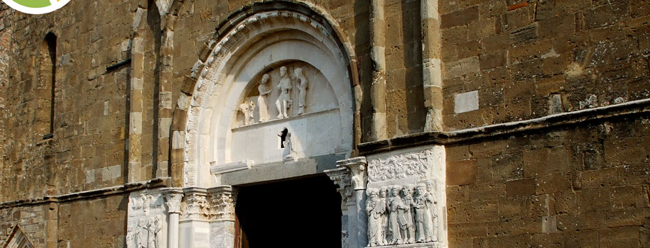 A tantalizing fragment of 12th and 13th century friezes at the entrance to the imposing Abbey of San Giovanni-in-Venere in Fossacesia