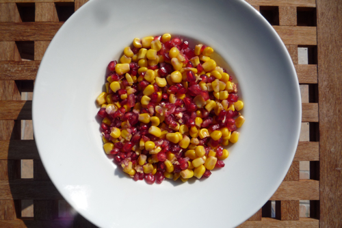 Pomegranate and sweetcorn salad