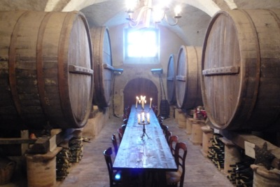 The Castello's wine cellar