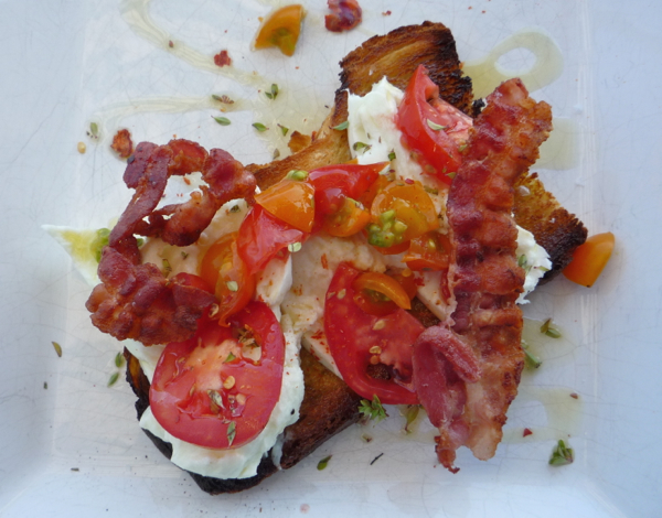 Delicious bruschetta, with buffalo mozzarella and Guanciale