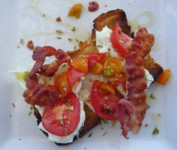 A bruschetta with our home-grown tomatoes.